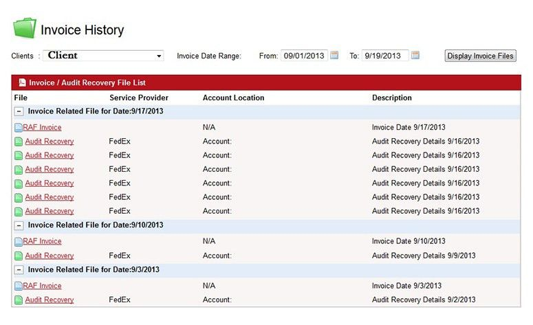 Online Invoice Visibility – RAF Logistics – Parcel Audit ...