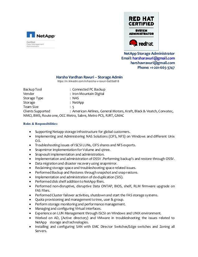 Harsha V Ravuri Resume - Storage - NetApp Certified Data ONTAP Admins…