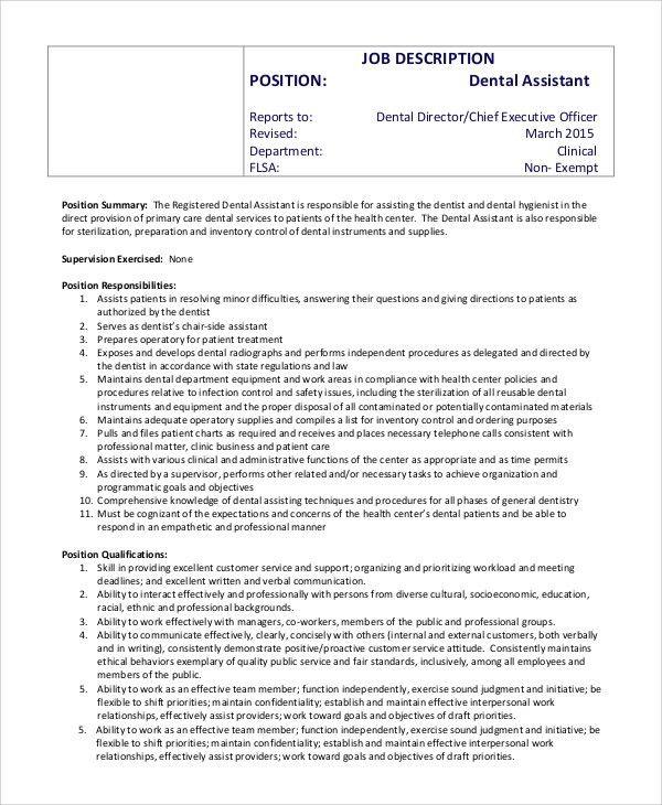 Sample Dental Assistant Job Description   8+ Examples In PDF, Word