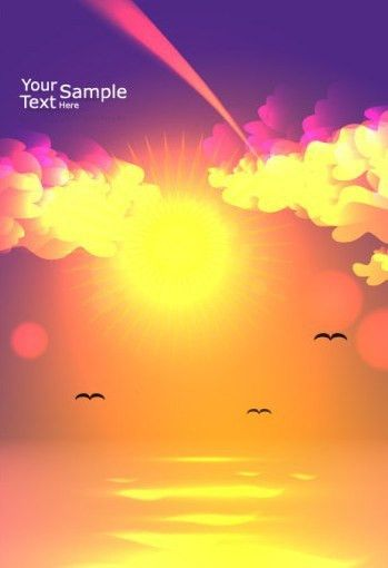 Free Vector Blank Brochure Cover Template with Sunrise 05 - TitanUI