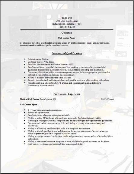 Call Center Resume Template | learnhowtoloseweight.net