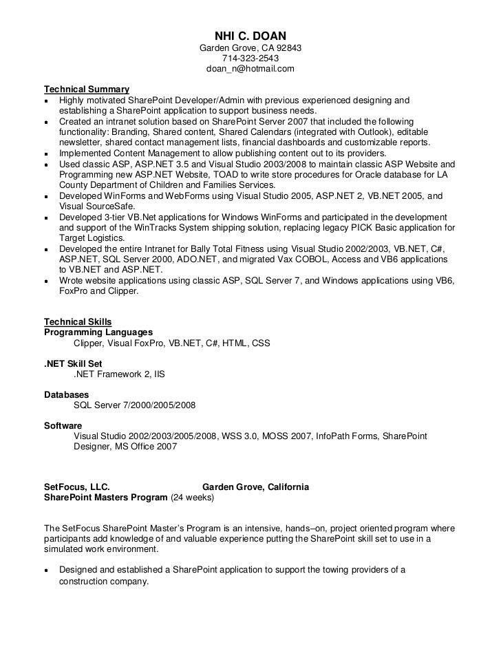 Winning Sharepoint Developer Cv Interesting - Resume CV Cover Letter