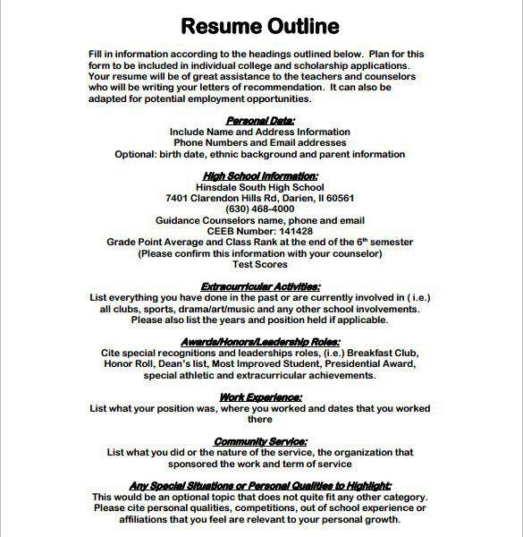 Interesting Idea Resume Outline 6 Resume Outline Template 13 Free ...