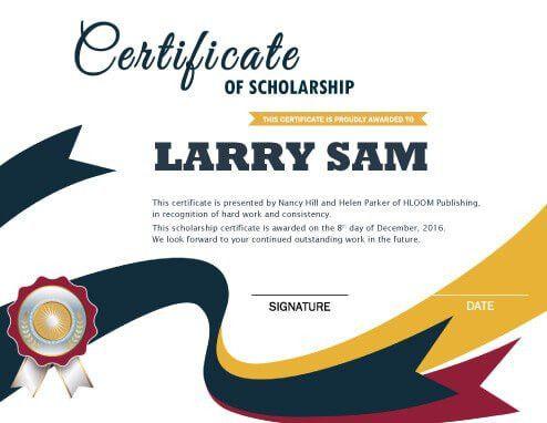 Scholarship Certificate • Hloom.com