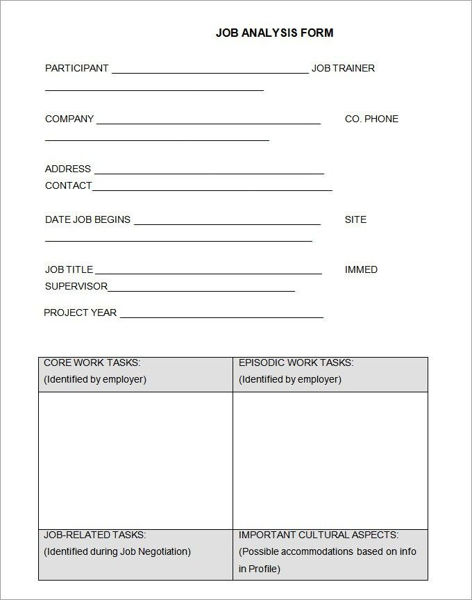 Job Analysis Template. Job Safety Analysis Form Job Analysis ...