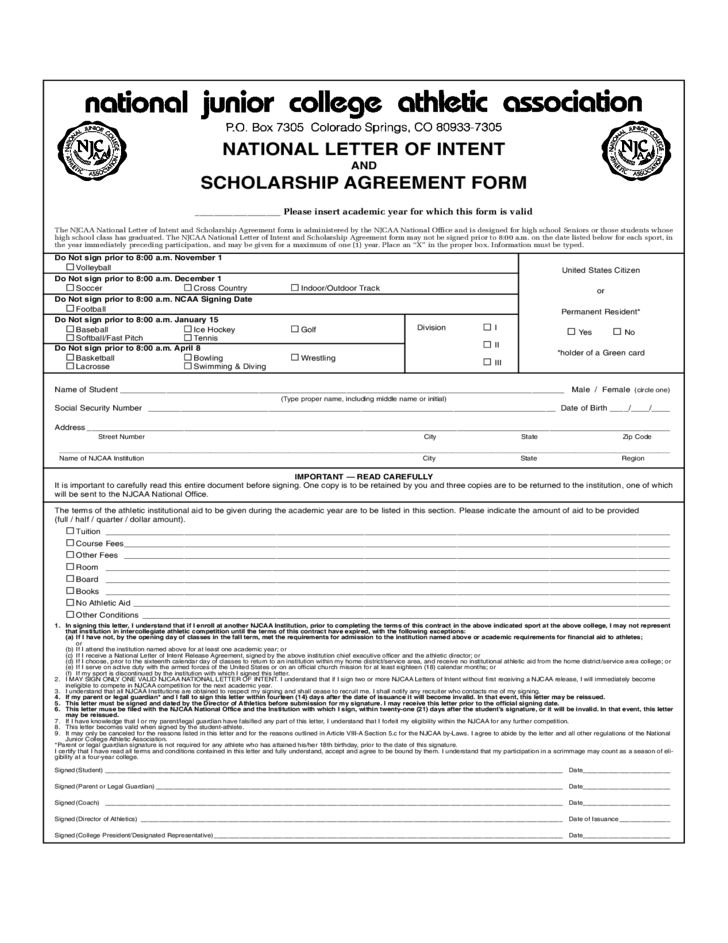 National Letter of Intent and Scholarship Agreement Form Free Download