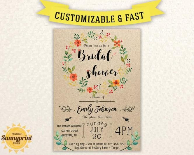 Printable Wedding Shower Invitations Templates | PaperInvite