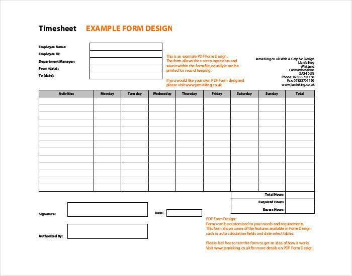 39+ Timesheet Templates - - Free Sample, Example, Format | Free ...