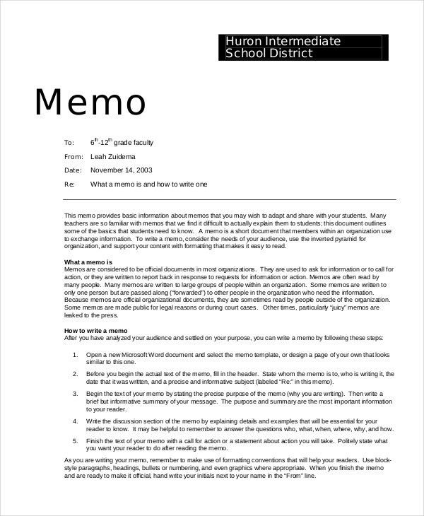 Simple Memo Template - 16+ Free Word, PDF, PSD Documents Download ...