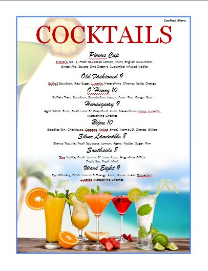 Cocktail Menu Template | Microsoft Word Templates