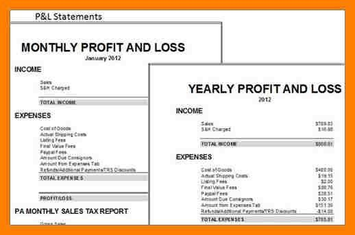 4+ simple profit and loss template | packaging clerks