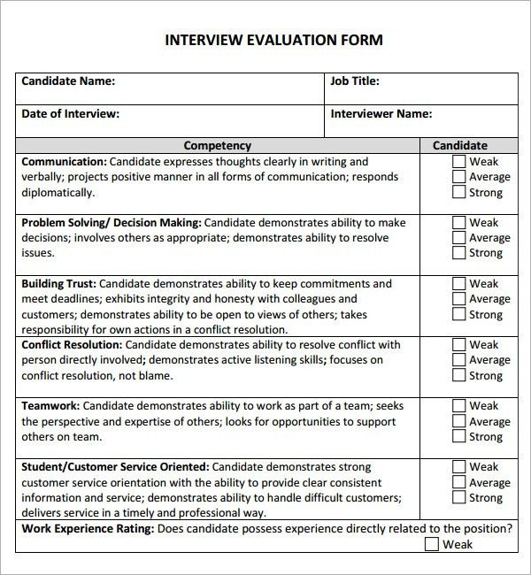 Sample Interview Evaluation. Candidate Rejection Letter Sample 27+ ...