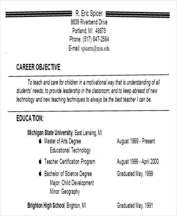 career objective for teacher resume finance resume objective