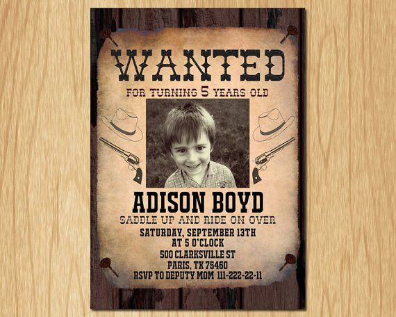 Cowboy Birthday Invitation Wanted Poster Old Wild West