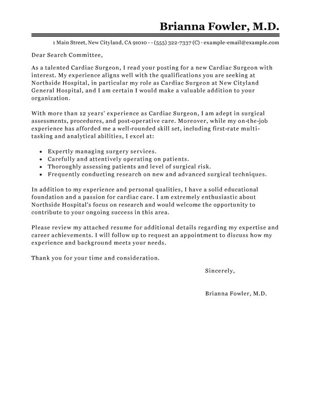Best Surgeon Cover Letter Examples | LiveCareer