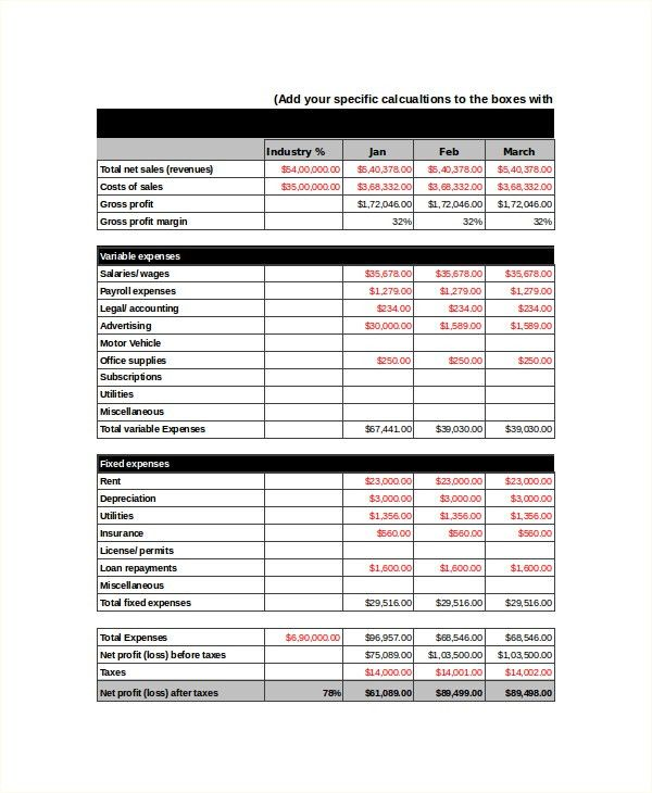 Income Statement Template - 8+ Free Word, Xls, PDF Document ...