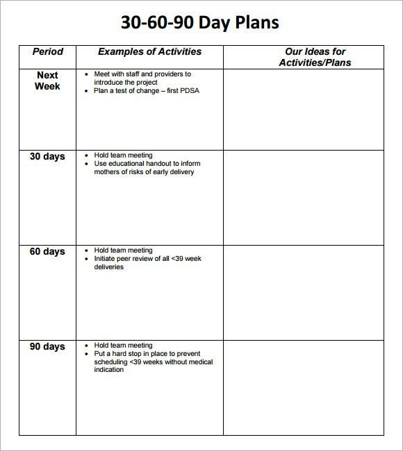8 Sample Project Plan Template Word. 30 60 90 Day Plan Template ...