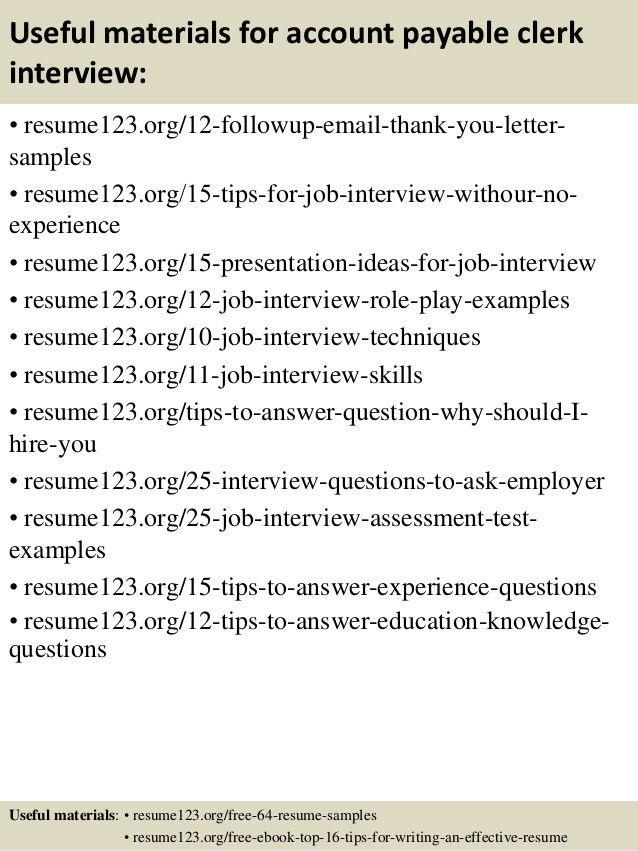 Top 8 account payable clerk resume samples