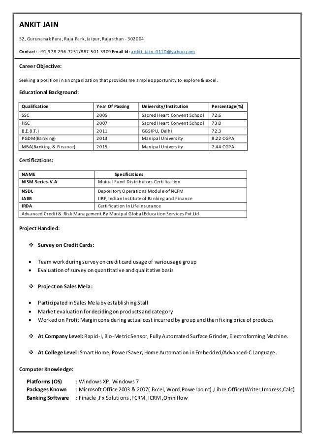 Resume (Ankit Jain, ICICI Bank, Deputy Manager - Band II)