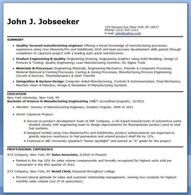 Resume For Manufacturing Engineer 2840 | Plgsa.org