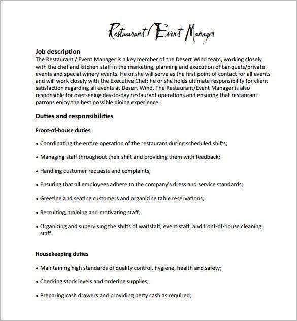 Stock Associate Job Description. Restaurant Manager Job .