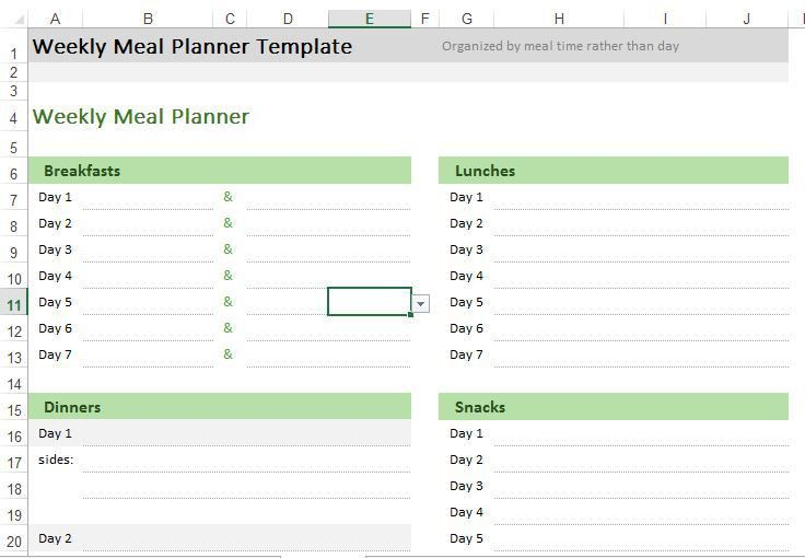 Weekly Meal Planner | Excel Templates for every purpose