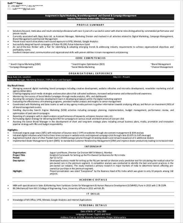 Marketing Fresher Resume Template - 4+ Free Word, PDF Format ...