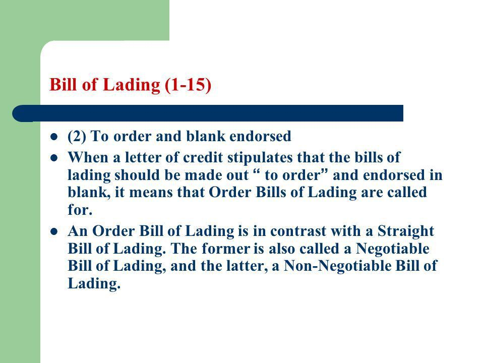 Bill of Lading Learning objectives: Students are required to - ppt ...