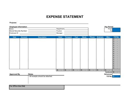 Expense Statement - Template & Sample Form | Biztree.com