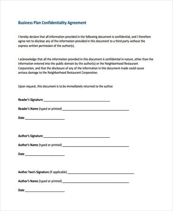 Confidentiality Agreement. Example Business Understanding ...