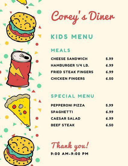 Burger Soda Pizza Kid's Menu - Templates by Canva
