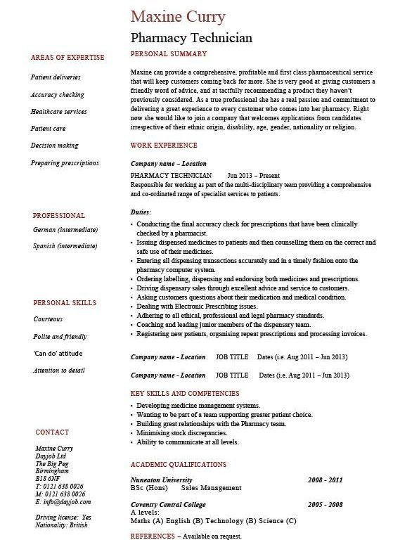 Nice Design Ideas Pharmacy Tech Resume 4 Pharmacy Technician ...