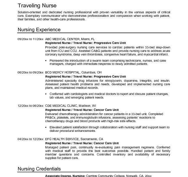 Valuable Design Nursing Resume Objective 4 Example Travel Nurse ...