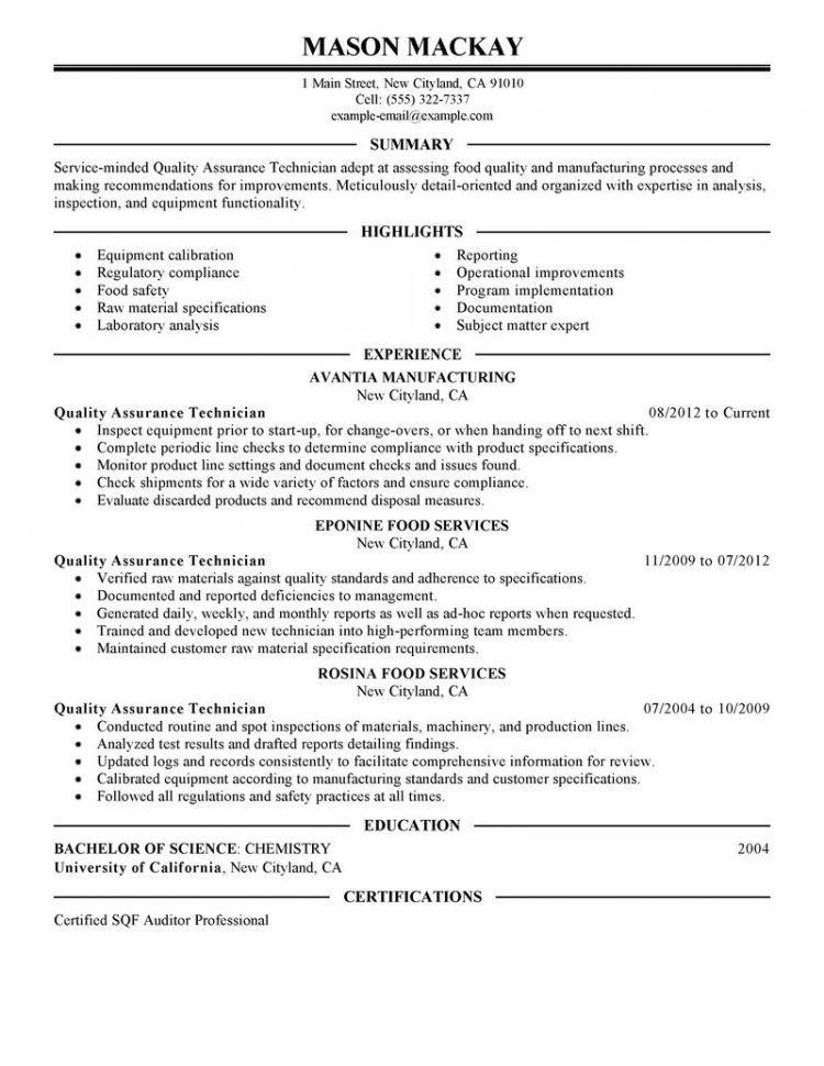 Resume Objective For Quality Assurance Analyst #5314