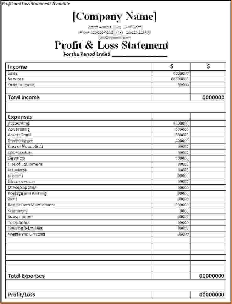 7+ simple profit and loss template | Procedure Template Sample