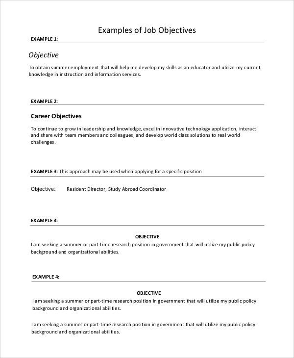 Sample Resume Objective - 8+ Examples in PDF