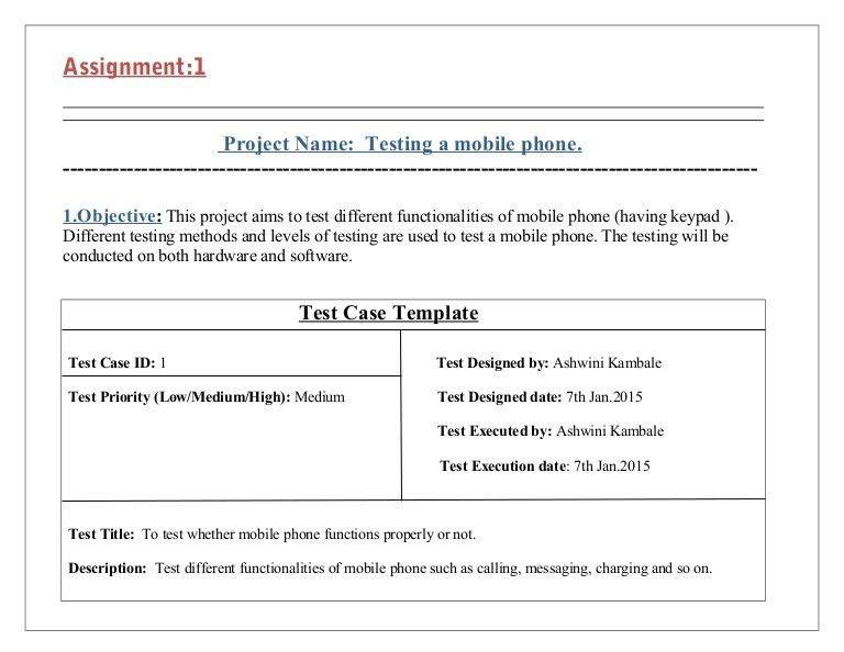Test cases for testing mobile phone