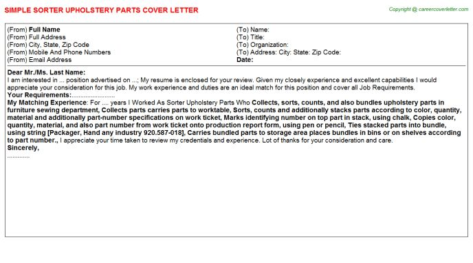 sorter upholstery parts cover letter - Parts Of A Cover Letter