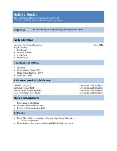 business student resume example. high school resume for college ...