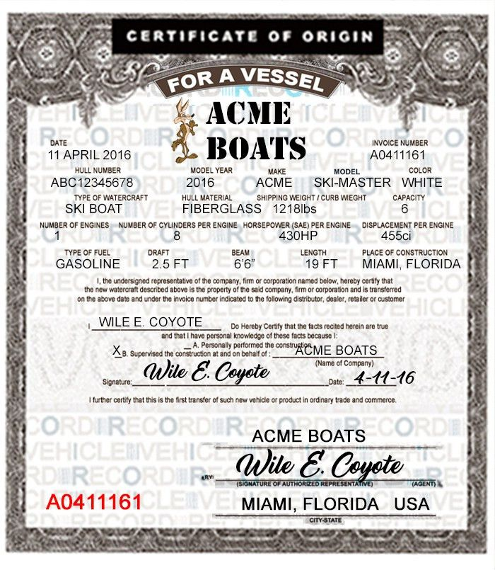 Boat / Vessel MCOs - United States Coast Guard