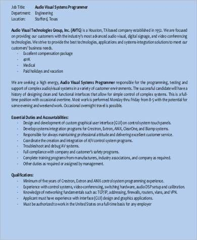 System Programmer Job Description Sample - 8+ Examples in Word, PDF