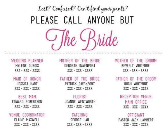 Please Call Anyone But The Bride - Microsoft Word Wedding Insert ...