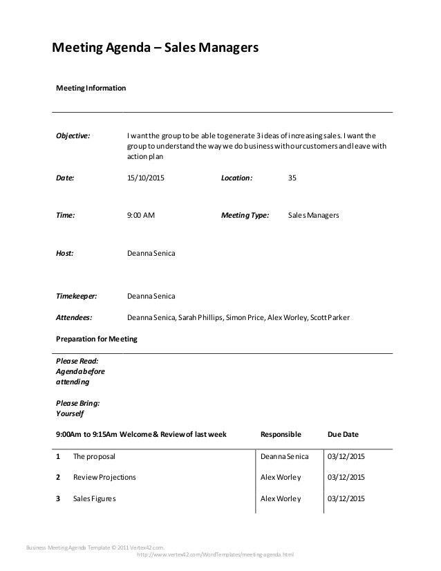Effective Meeting Agenda for current sales team Designed by Deanna Se…