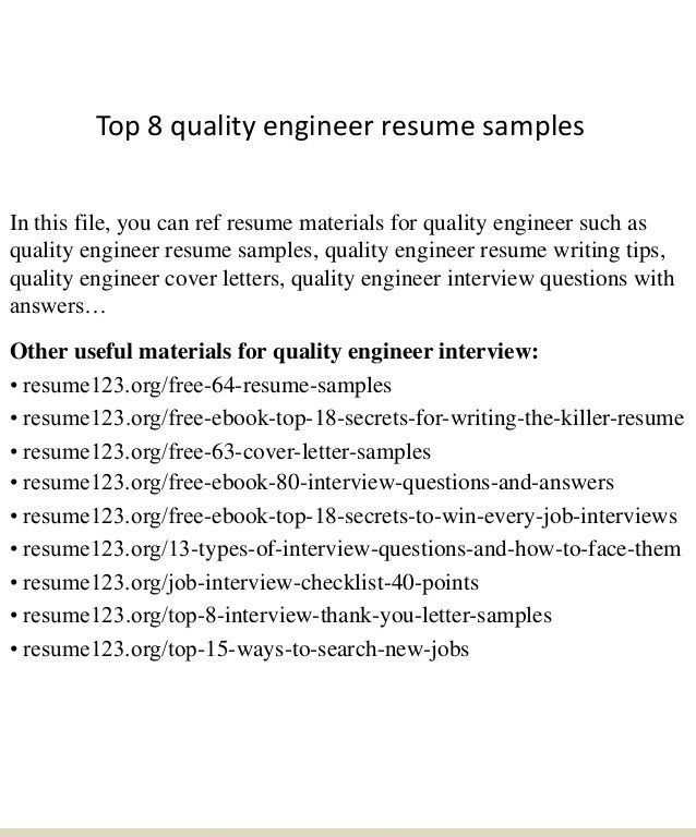 Quality Engineer Sample Resume Air Quality Engineer Sample Resume ...