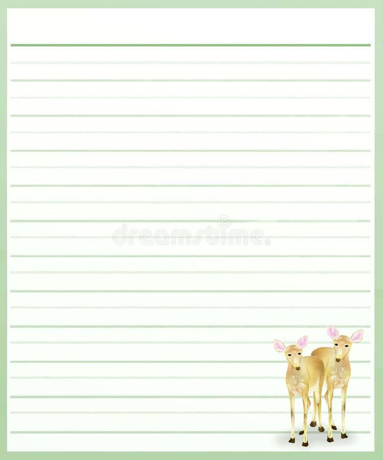 Deers On Green Color Lined Paper Royalty Free Stock Image - Image ...