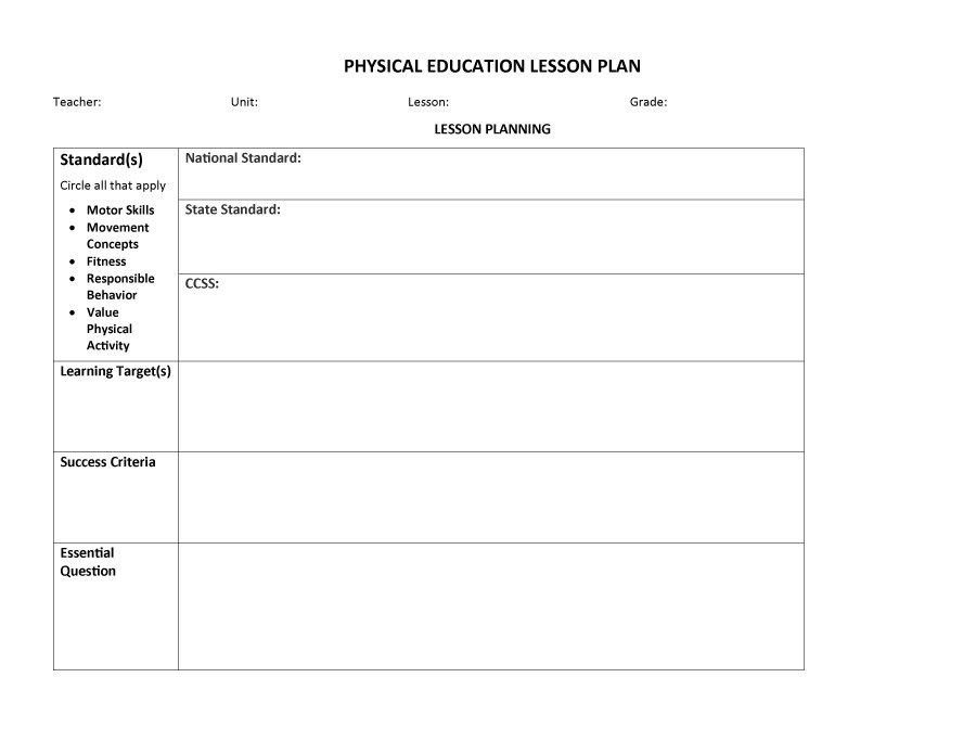 Physical Education Lesson Plan Template. Lesson Plan Template 03 ...