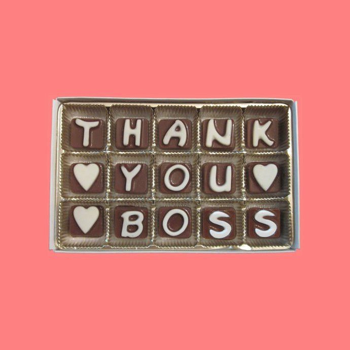 Thank You Boss Cubic Chocolate Letter Gift by What Candy Says on
