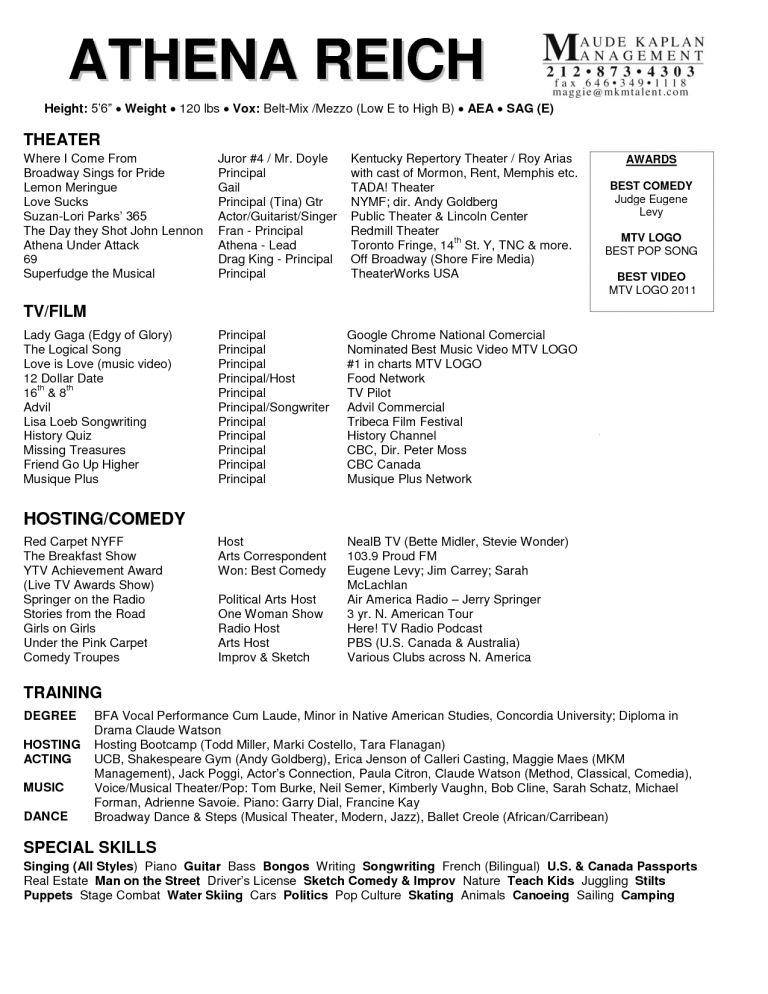 Acting Resume Special Skills Ideas - Contegri.com