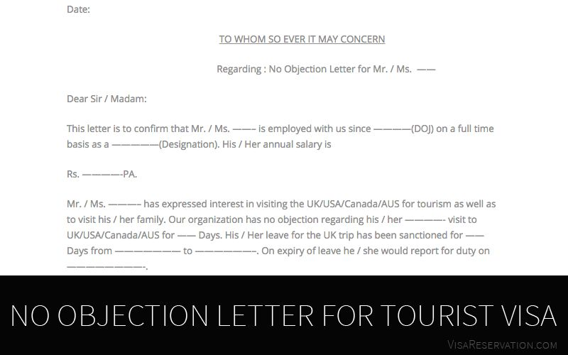 Ultimate Guide To No Objection Letter For Tourist Visa - Visa ...