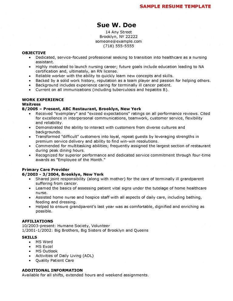 cna resume sample with no experience nurse assistant resume ...
